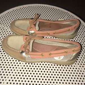 Sperry cream and white shoe